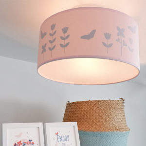 Plafondlamp silhouet Bloem en Vlinder ANNIdesign effen roze 01