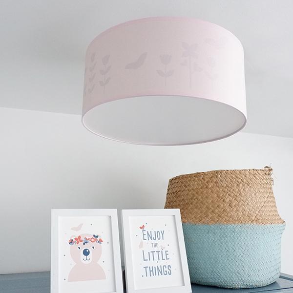 Plafondlamp silhouet Bloem en Vlinder ANNIdesign effen roze 02