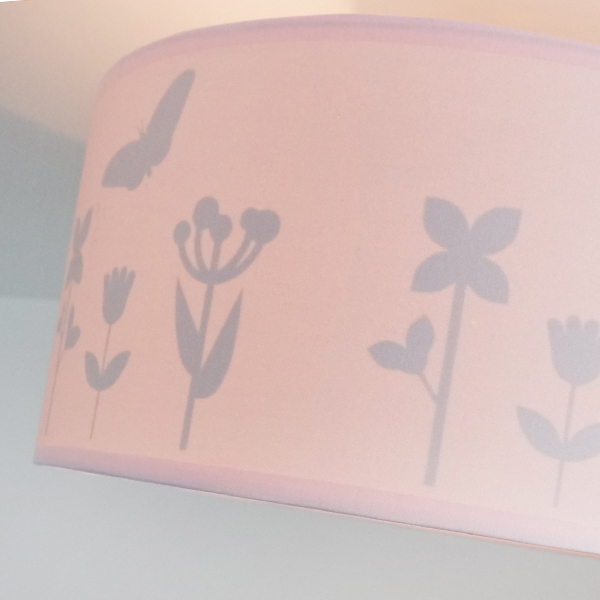 Plafondlamp silhouet Bloem en Vlinder ANNIdesign effen roze 03