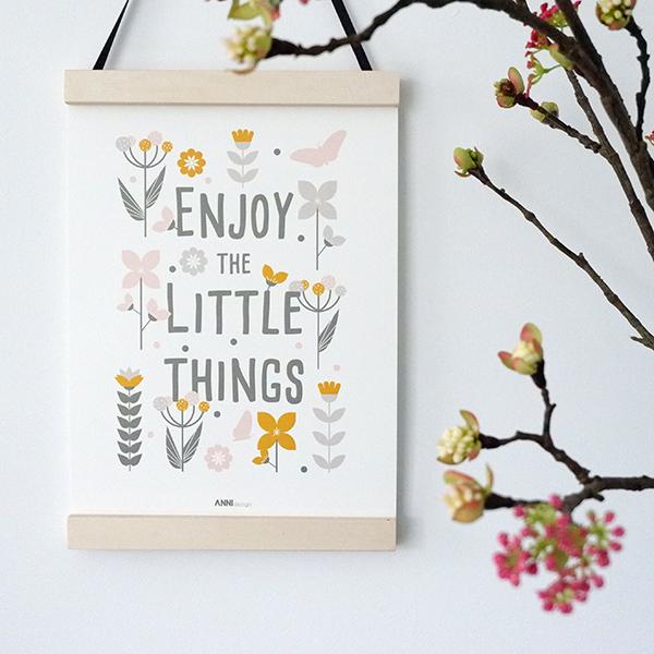 Poster Bloemen Enjoy little things ANNIdesign olijf groen 01