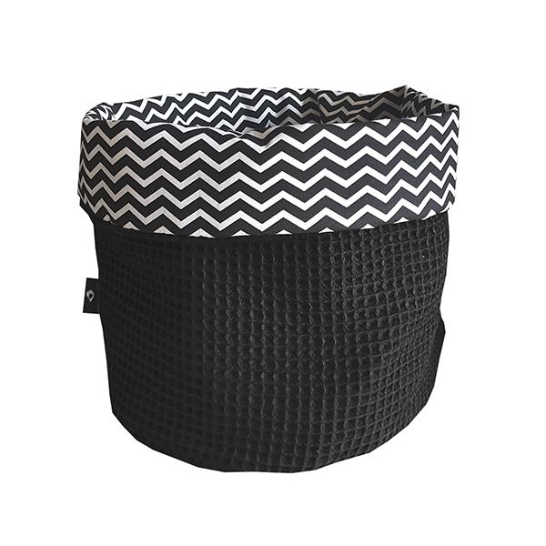 Commodemandje Zigzag zwart Wafelstof zwart ANNIdesign