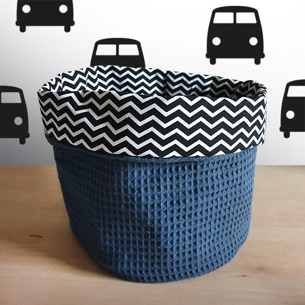 Commodemandje zigzag zwart wafelstof donker oud blauw ANNIdesign 01