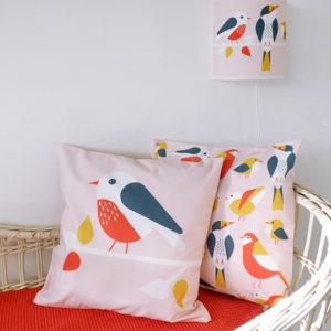 Kussen Vogel oud roze ANNIdesign 01