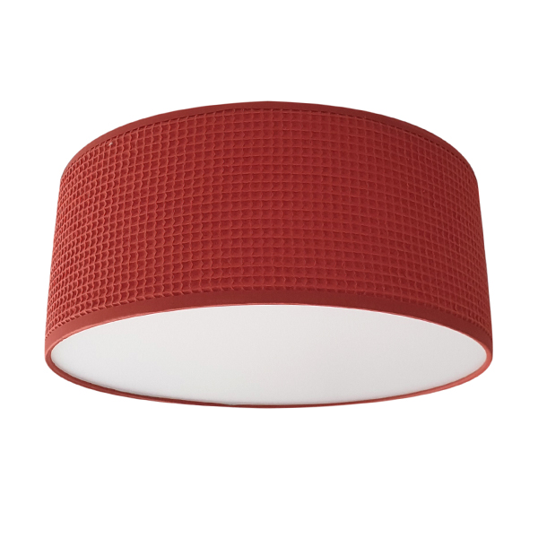 Plafondlamp wafelstof Terracotta rood Bi & Li Creaties