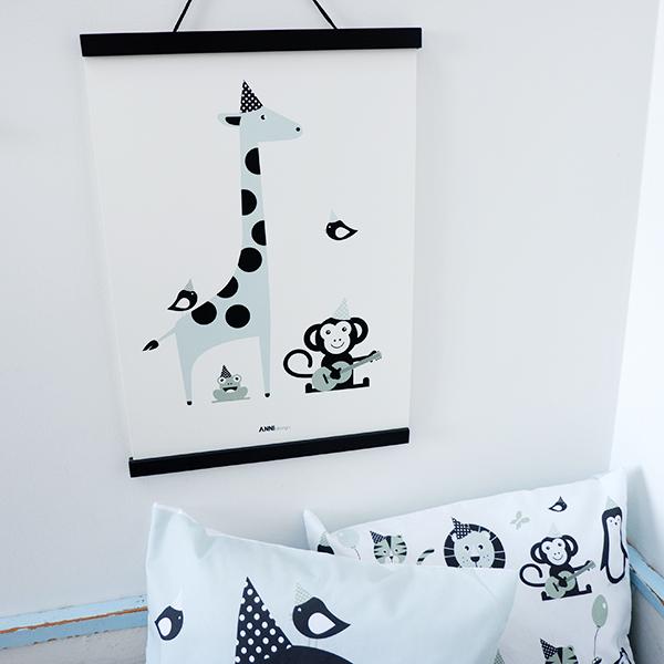Poster Aap en Giraf Feesbeesten old green ANNIdesign 01
