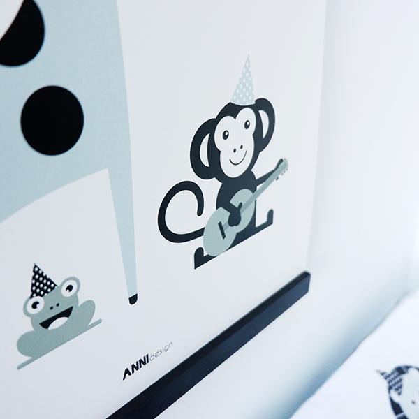 Poster Aap en Giraf Feesbeesten old green ANNIdesign 02