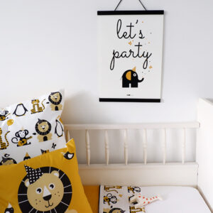 Poster Olifant Let's Party Feestbeesten oker geel ANNIdesign 03