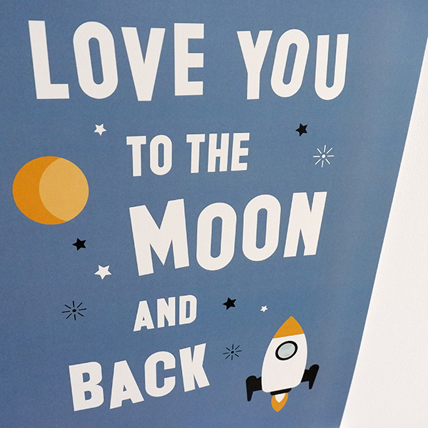 Poster Raket Love you to the Moon jeans blauw ANNIdesign 02