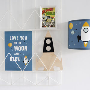 Poster Raket Love you to the Moon jeans blauw ANNIdesign 03