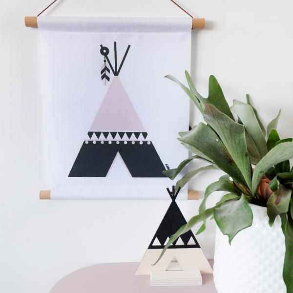Textielposter Indiaan Tipi ANNIdesign oud roze 01