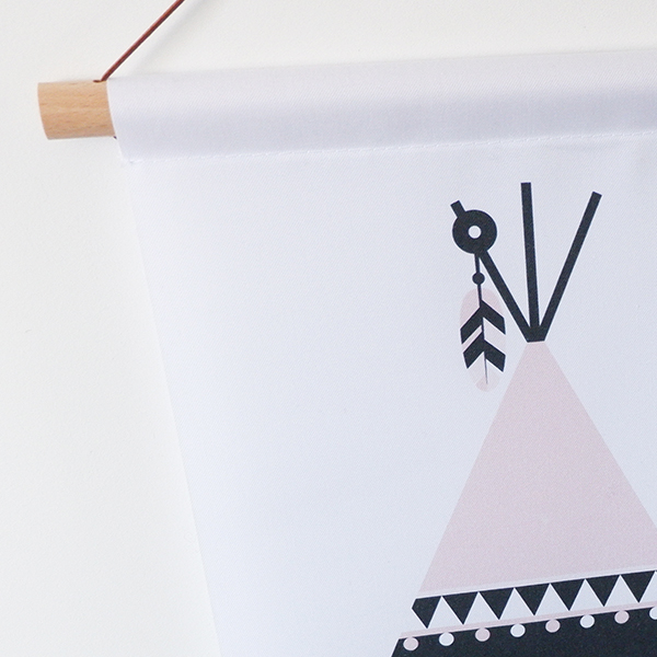 Textielposter Indiaan Tipi ANNIdesign oud roze 02