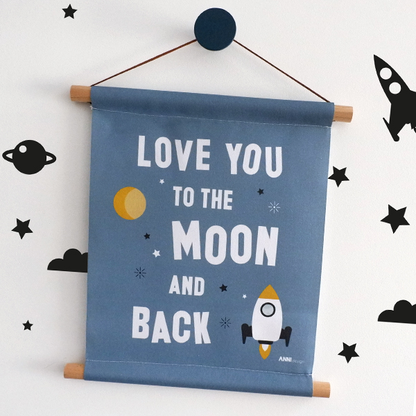 Textielposter Raket Love you to the Moon jeans blauw ANNIdesign 01