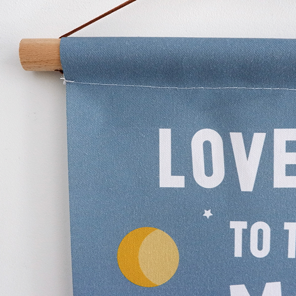Textielposter Raket Love you to the Moon jeans blauw ANNIdesign 02