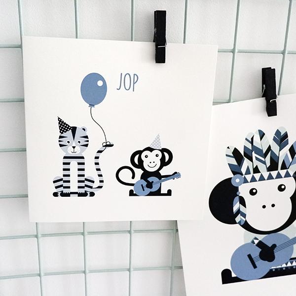 Geboortekaart Feestbeest jeans blauw ANNIdesign 01
