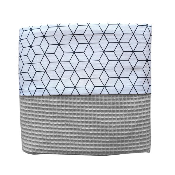 Ledikant deken Kubus small_Wafelstof grijs ANNIdesign