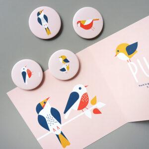 Magneet Vogels oud roze ANNIdesign 03
