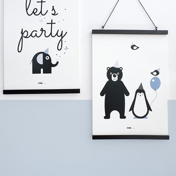 Poster Beer en Pinguin Feesbeesten jeans blauw ANNIdesign 01