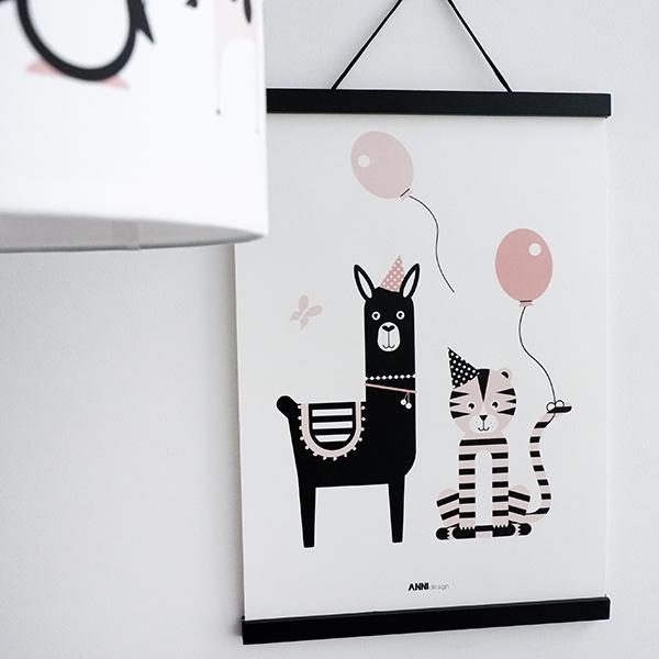 Poster Lama en Tijger Feesbeesten oud roze ANNIdesign 01