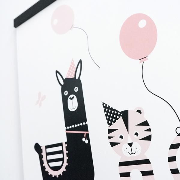 Poster Lama en Tijger Feesbeesten oud roze ANNIdesign 02