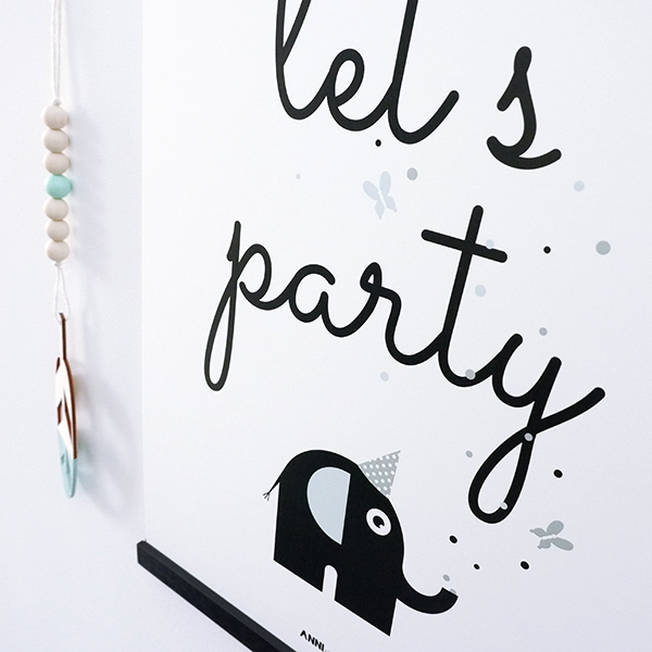 Poster Olifant Let's Party Feestbeesten old green ANNIdesign 02
