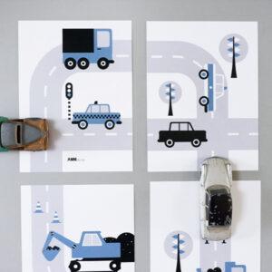Poster set Voertuigen Auto jeans blauw ANNIdesign 01