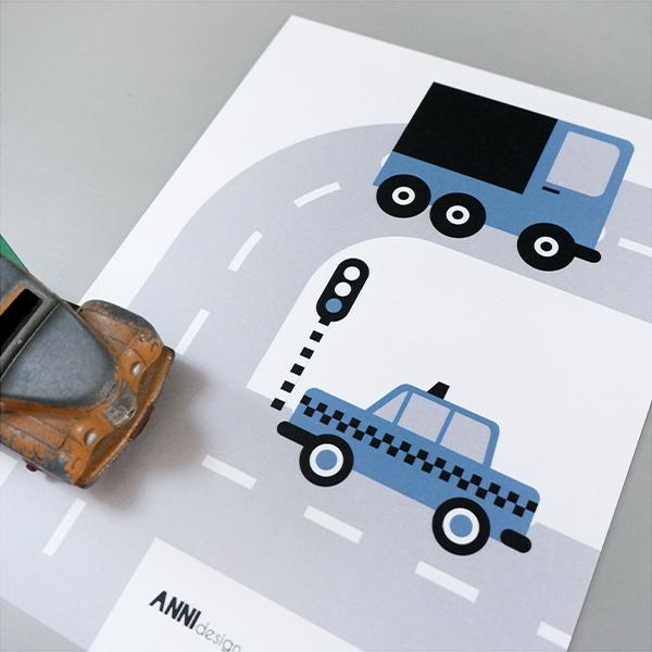 Poster set Voertuigen Auto jeans blauw ANNIdesign 02