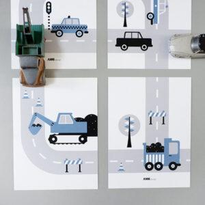 Poster set Voertuigen Graafmachine jeans blauw ANNIdesign 01