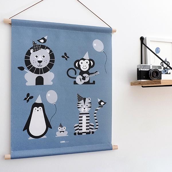 Textielposter Feestbeesten jeans blauw ANNIdesign 01