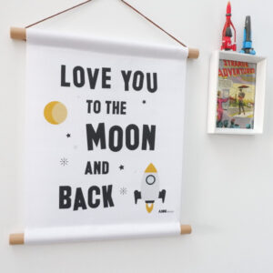 Textielposter Raket Love you to the Moon wit ANNIdesign 01