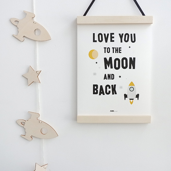 Poster Raket Love you to the Moon wit ANNIdesign 01