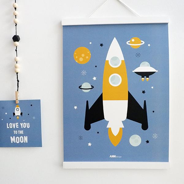 Poster Raket jeans blauw ANNIdesign 01