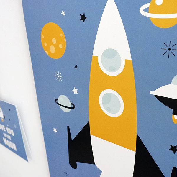 Poster Raket jeans blauw ANNIdesign 02