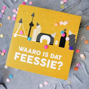 Wenskaart Feessie Rotterdam ANNIdesign oker geel 01
