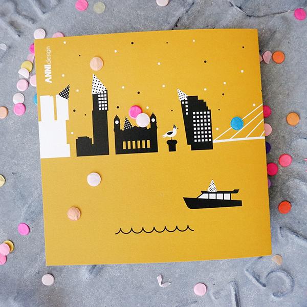 Wenskaart Feessie Rotterdam ANNIdesign oker geel 02