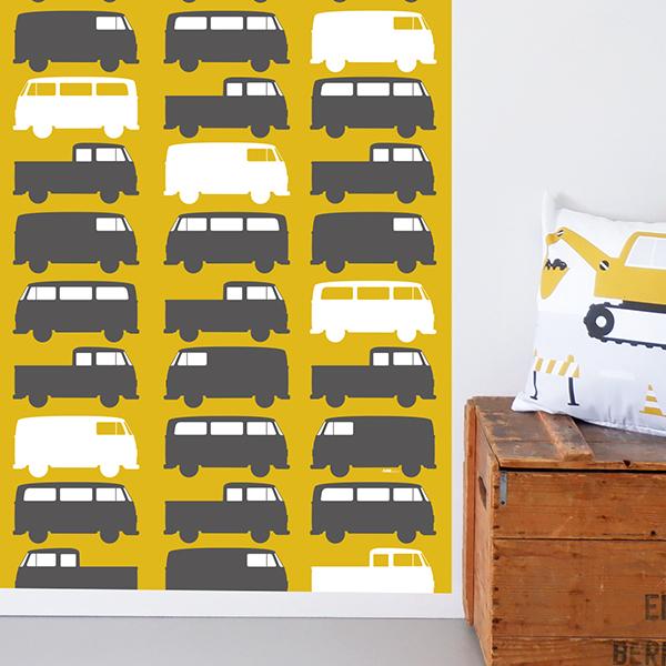 Behangbaan Bussen oker met naam 254x80 ANNIdesign 02
