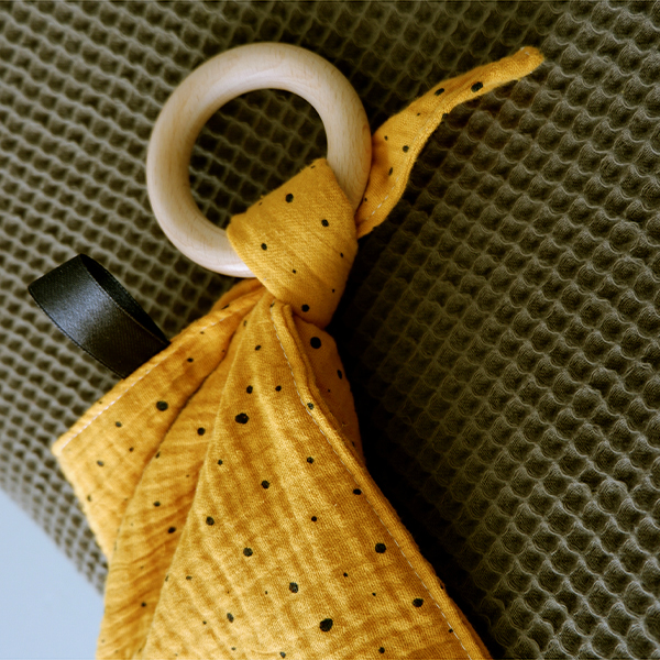 Knuffeldoekje baby hydrofiel oker ANNIdesign 02