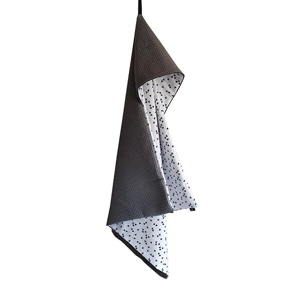 Omslagdoek Triangel op Wit met Wafelstof donkergrijs ANNIdesign S01
