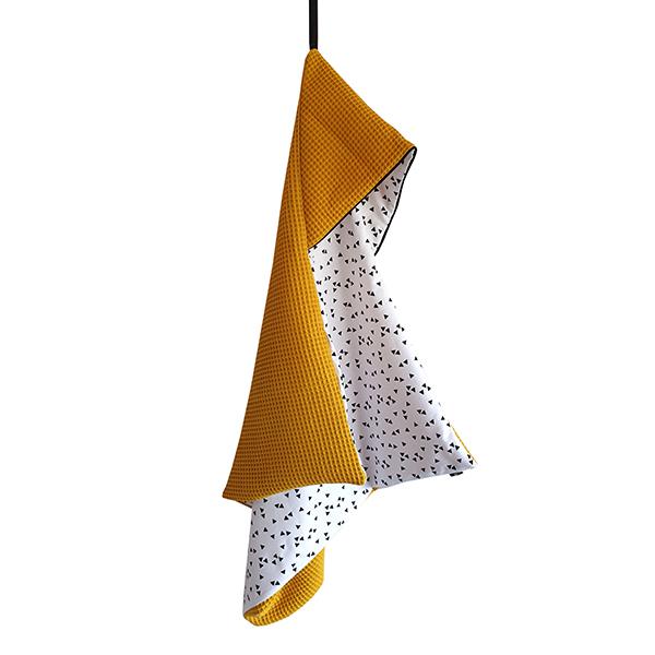 Omslagdoek Triangel op Wit met Wafelstof oker ANNIdesign S01