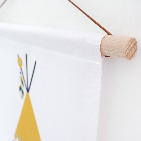 Textielposter Indiaan Tipi oker geel ANNIdesign 02