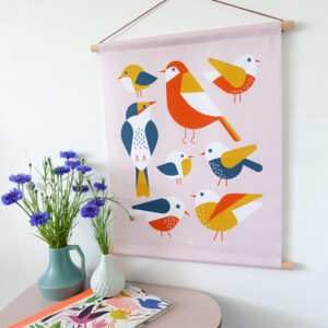 Textielposter Vogels oud roze ANNIdesign 01
