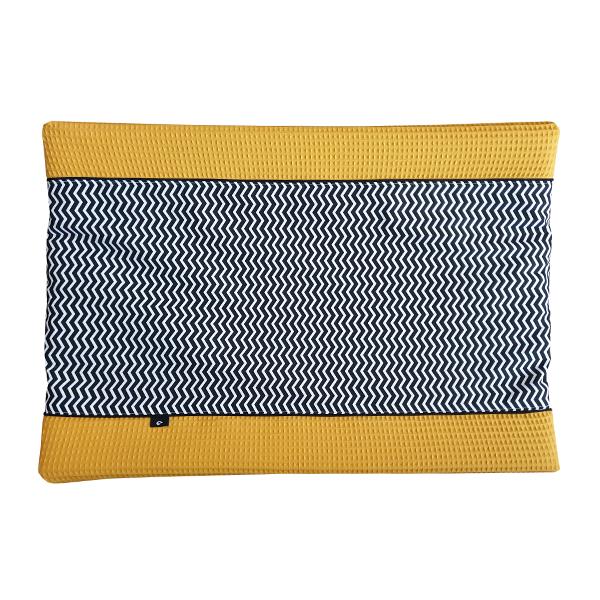 Aankleedkussenhoes Zigzag zwart Wafelstof oker ANNIdesign 01