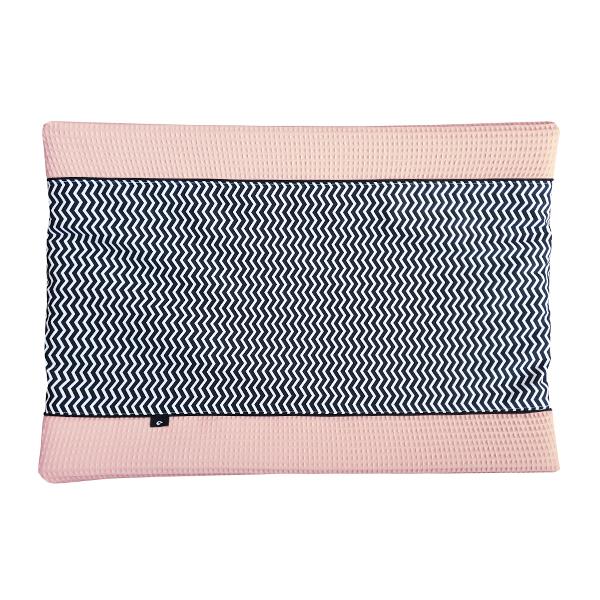 Aankleedkussenhoes Zigzag zwart Wafelstof roze ANNIdesign 01