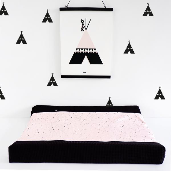 Aankleedhoes Confetti op roze_Wafelstof zwart_ANNIdesign_01