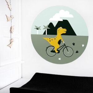 Behangcirkel Dino op de fiets ANNIdesign 03