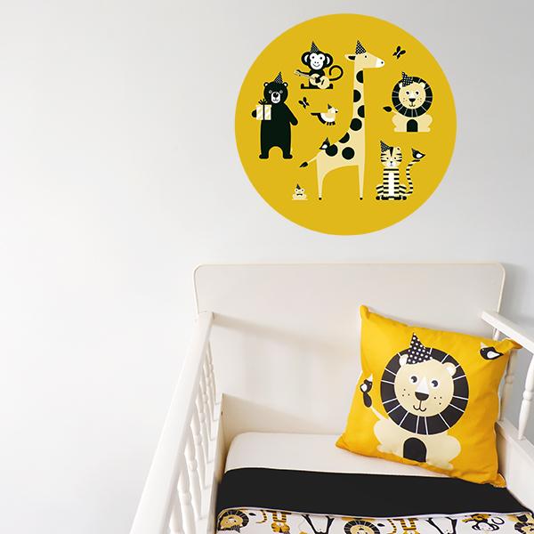 Behangcirkel Feestbeesten oker geel ANNIdesign 03