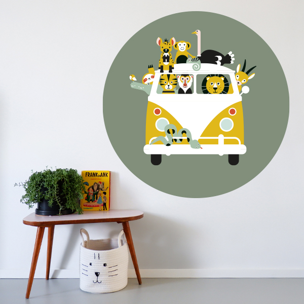 Behangcirkel Safari olijf groen ANNIdesign 01