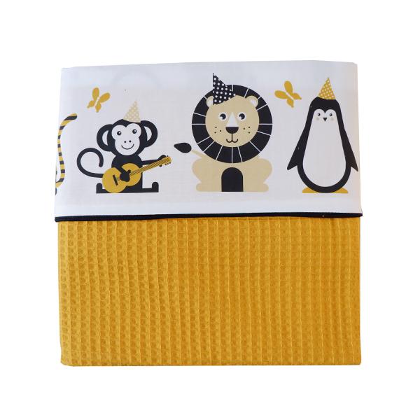 Ledikantdeken Feestbeesten oker geel_Wafelstof oker geel ANNIdesign_03