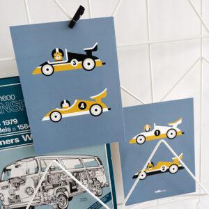 Poster set Raceauto jeans blauw ANNIdesign 01