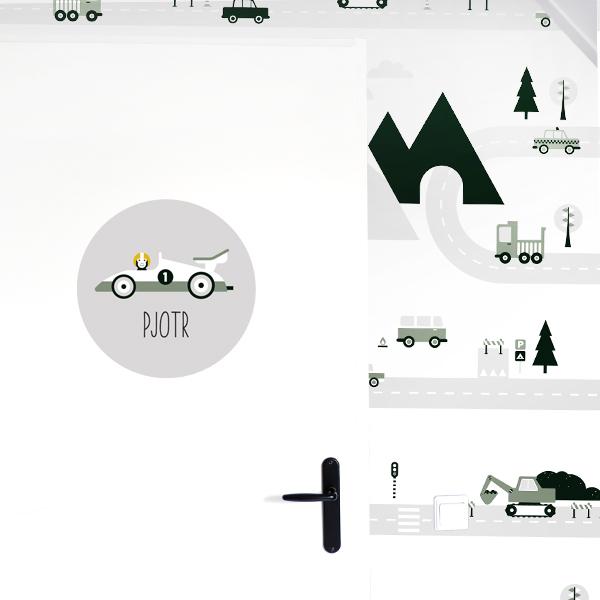 Deursticker Raceauto grijs ANNIdesign 01
