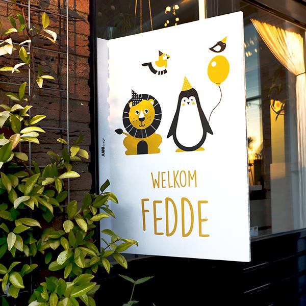 Geboortebord Feestbeesten oker geel ANNIdesign 01